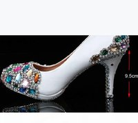 New Arrival Handmade Wedding Popular White Bridal High Heel Dress Shoes Crystal Women's Shoes Mother of the Bride Shoes