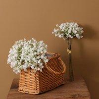 3Pcs Artificial Flowers White Gypsophila Baby Breath Plastic Fake Flower Bouquet Wedding Bridal Shower Home Garden Decoration Decorative & W