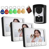 YobangSecurity Home Segurança 7 polegadas Monitor LCD Cabo Porta de Vídeo Doorbell RFID Access Control 1 Camera 3 Kit. Telefones