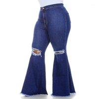 6XL Artı Boyutu Kadınlar Için Yırtık Delik Kot Vintage Yüksek Bel Denim Pantolon Kadın Streetwear Casual Flare Pantolon Jeans Calça D301