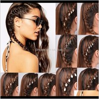 5Pc Braided Ring Gold Sier Leaf Clip Hairpin Jewelry Design Dreadlock Hoop Circle Hair Accessories Fap00 I0Mef