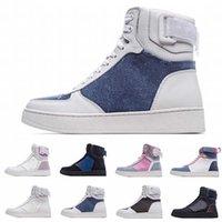 [Com caixa] preferencial 2021 luxurys designer casual sapatos rivoli alta top sneaker boots mens treinadores vintage denim bezerros homens homens mulheres
