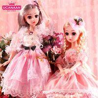 Ucanaan BJD Кукла 1/4 SD Куклы 18 дюймов 18 Шал Соединенные Куклы с Одежда Обувь Обувь Парик Парик Макияж Дар для девочек 210903