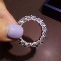 Кластерные кольца MLUTLY 100% 925 Стерлингового серебра Круглый Отличный Высокоуглеродистый Кольцо Для Девочек Коктейль Изящные Ювелирные Изделия