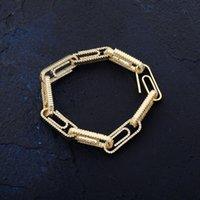 Clip de papier fermoir Link Link 7-8 pouces Bracelet Glafe Out Zircon Bling Hip Hop Hop Hommes Bijoux Cadeau Charme Perlé Bracelets 3491 Q2