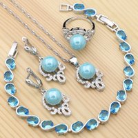Wedding Jewelry Sets 925 Silver Blue Pearl Cubic Zirconia Set For Women Bracelet Earrings Ring Pendant Necklace Fashion