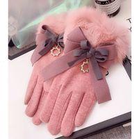 Mitaines hiver poignet dames gants de cachemire pour écran tactile femelle laine de fourrure de la lapin élégante gant de bowe femme vm6d