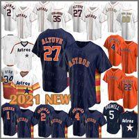 Houston Custom Astros 27 Jose Altuve Jersey de béisbol 2 Alex Bregman 4 George Springer 35 Justin Verlander 1 Carlos Correa 5 Jeff Bagwell