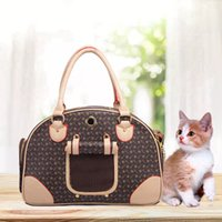 Choice Luxury Fashion Dog Carrier PU Leather Puppy Handbag Purse Cat Tote Bag Pet Valise Travel Hiking Shopping Poodle Pomeranian Brown Large