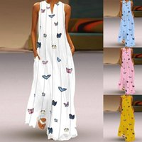 Casual Dresses 2021 Vintage Butterfly Print Dress Women Summer Sleeveless Loose Striped Sexy V-neck Beach Tank Straight Plus Size