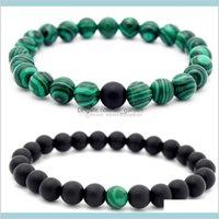 Brins perlés bracelets bijoux 8mm malachite pénétrant à la main semi précieuse perles de pierres précieuses perles de perles d'amusement stretch lover bracelet goutte