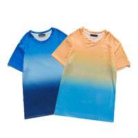 2021 Tops 100% Baumwolle Paar Hemd Bequeme Stranddesign Mens T-Shirt Präzision Druckbuchstaben Gradient Farbe Womens T-shirts Größe M-XXL