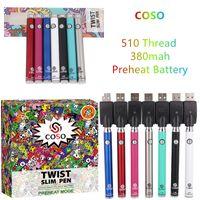COSO 380 MAK Bodem Twist Variabele Voltage Voorverwarming Batterij 3.3V-3.8V-4.3V-4.8V-oplader Kit met displaydoos voor dikke olie Vape-cartridges