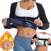 Bel Desteği Kadın Sauna Shaper Tops Uzun Kollu Termo Ter Shapewear Zayıflama Fermuar Eğitmen Korse Gym Fitness Egzersiz Gömlek