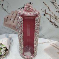 Storage Boxes & Bins Sparkling Acrylic Brush Organizer With Lid Rhinestones Cosmetic Round Make Up Box Makeup Bedroom