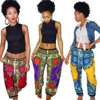 Богемия Цифровые напечатанные Свободные 5 Цветов Женщины Африканский Винтаж Анкара Брюки Летние Карманные Карманные Случайные Широкие штаны 10 шт. OOA6909