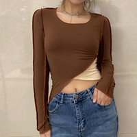 Women's T-Shirt Casual Solid Color Long-sleeved Short Top With Irregular Stitching And Hit Fitness Women Sexy Tops