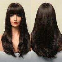 Parrucche sintetiche Alan Eaton Long Dritto Straight Capelli marrone scuro con Bangs per le donne nere Fibra di temperatura ad alta densità