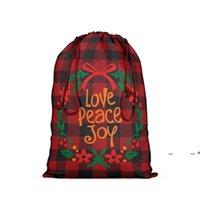 Подарочная обертка красный и черный плед присутствующая сумка с Drawstring Santa SACK Xmas Хлопковые чулки пакеты Party Party для предоплаты конфеты FWF10343