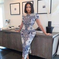 Casual Dresses 2021 Summer Printed Midi Dress Women Short Sleeve High Slit Cut Up Bodycon Sexy Streetwear Festival Club