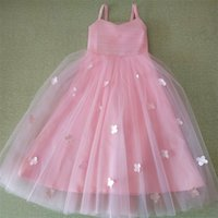 Real Arrival Flower Girl Dresses with Flowers Fashion Little Girls Kids Child Sweet First Communion Party Pageant Dress