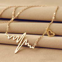 X182 Korean ECG Necklace love shape Imitation Titanium Steel heartbeat peach heart female pendant clavicle chain gold jewelry