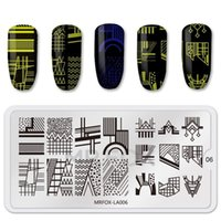 6.5 * 12.5 cm Acciaio inossidabile Acciaio inossidabile Acquerello Graffiti Linee Immagine Nail Art FAI DA TE Stampante Manicure Stencil Stencil per unghie Stamping P