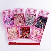 7HR çocuk bebeğin pin prenses band firkete taç saç aksesuarları kafa 18 parça set hediye kutusu