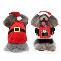 Dog Apparel Christmas Santa Claus Funny Pet Cosplay Costumes Cat Suit With A Cap Puppy Fleece Outfit Warm Coat Festival Clothes