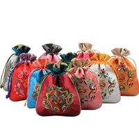 10 stücke chinesische stickerei kleine satin favor taschen weihnachten hochzeit partei kordelzug schmuck verpackung geburtstagsgeschenkbeutel
