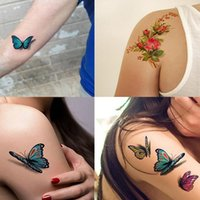 39 스타일 나비 3D 문신 꽃 잎 스티커 여성을위한 아이들 다채로운 바디 아트 임시 문신 tbx3d