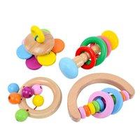 Древесные погремушки игрушки для ребенка, малыш деревянные рулонные колокольчики красочные BPA бесплатные рудные погремушки звуковые игрушки образовательные игрушечные игрушки