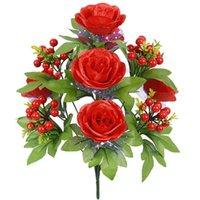42cm 미니 로즈 1 꽃다발 6 꽃 머리 빨간색 베리 실크 분기 가짜 꽃 장식 장식 웨딩 장식 화환