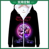 New trend Halloween digital print 3D zipper Hooded Sweater