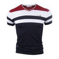 Moda Summer Stripe T Shirt Hombres Casual Manga corta T Shirts Moda masculina Simple Top Tees Quality Plus Tamaño M-4XL