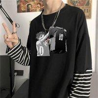 Erkek T-Shirt Anime Haikyuu !! Hinata Shouyou Hoodie Erkekler / Kadınlar Hip Hop Rahat Gevşek Harajuku Kazak Streetwear Unisex Boy Tee Top