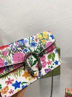 Womens Mini Dionysus-Klappen Taschen Blume Silber Kette Leinwand Schulter Crossbody Bag Mode Damen Echtes Leder Tiger Head Coverure Handtasche