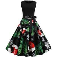 Günlük Elbiseler Sevimli Chrismas Elbise Kadın Noel Baba Yıldız Baskı kadın Giyim 2021 Moda Dikiş Yay Pileli Kolsuz Büyük Salıncak