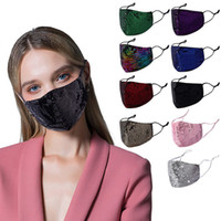 Mermaid Sequins Women Face Mask 3-ply Cotton Shiny Sequin Dustproof Face Mask Fashion Ladies Bling Bling Washable Durable Mouth Cover 2021