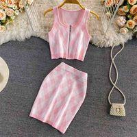 Летний корейский сладкий розовый плед трексуит женский урожай вершины сексуальный жилет Bodycon юбки наборы моды вязаный свитер 210514