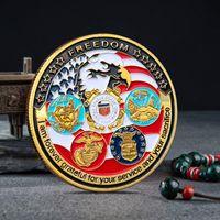 اللون المعدني مطلية حزب الأمريكي التحدي العسكري تذكاري عملة تذكارية خمسة القوات الرئيسية الدول البحرية الجيش تنقش الحرف العملات ZXFTL0202