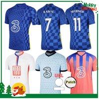 2021 CFC Jersey Jersey Pulisic Ziyech Havertz Kante Werner Abraham Chilwell Mount Jorginho 2022 Camisa de Futebol 20 21 22 Men + Kit Kit
