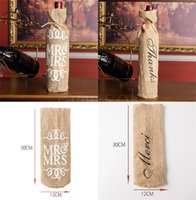 MR & MRS Jute Wine Bottle Cover Gift Bag Rustic Wedding Decoration Anniversary Party Wrap DB878