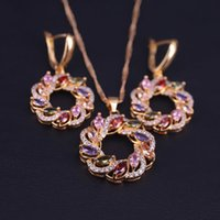 Lucky Round Circle Colorful Top Zircon Gold Color Costume Jewelry Necklace Earrings Set With Pendant Big Discount
