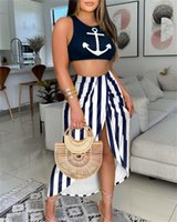 Summer two Piece Set Women Fashion Casual Beach Style Vest Crop Tops Split Irregular Skirt Suit Printing 2 Piece Sets Women