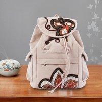 Women Backpack Large Capacity Embroidered Canvas Laptop Bag Teenage Girls Fashion Light Multi Pocket Drawstring Travel School Bags