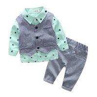 Kids boy Clothing gentlemen Sets Long Sleeve turn down collar stars print boy shirt + pant + vest boy clothing set For Spring