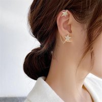 Elegant Five-Point Star Chain Ear Stud Inhospitable Concise Style Eardrop Individual Earring Accessories For Woman G695 Hoop & Huggie