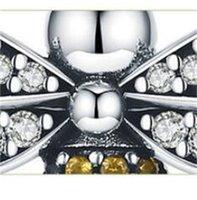 Einzigartige volle Pave Biene baumeln Charme für Frauen Fit European Pandora Armband 925 Sterling Silber 61 W2