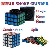Rubik Küp Tütün Öğütücü Çinko Alaşım 4 Katmanlı 58 * 58mm Dönebilen Çanta Toptan